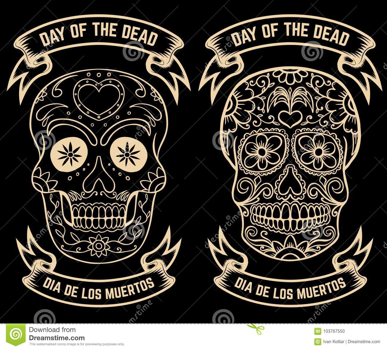 Day of the dead dia de los muertos set of the sugar skulls design day of the dead dia de los muertos set of the sugar skulls design elements for poster greeting card banner vector illustrati m4hsunfo