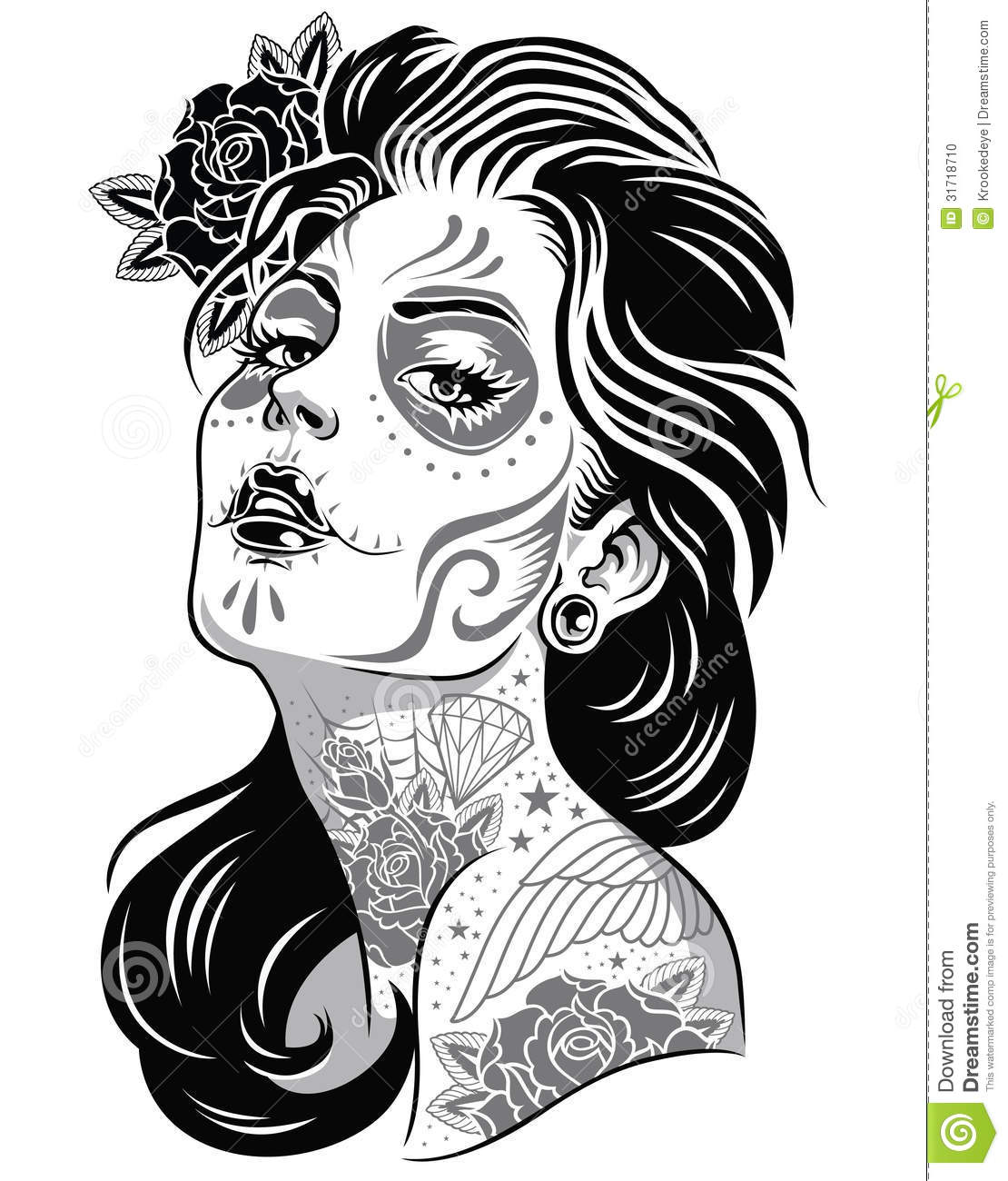 Day Of The Dead Tattoo Black And White Wwwgalleryhip