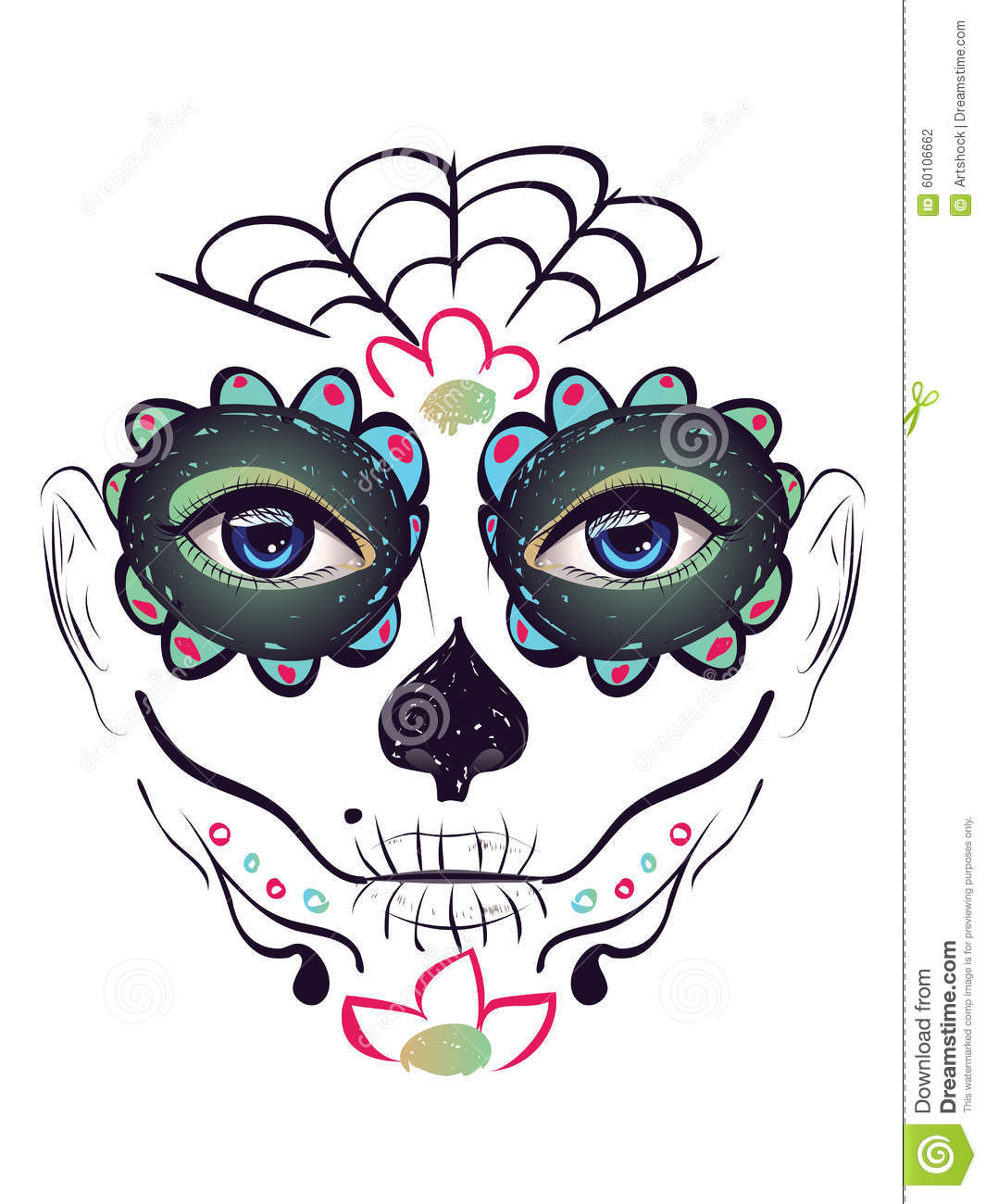 b21e5477ac9 Day of Dead Girl Face stock vector. Illustration of mexico - 60106662