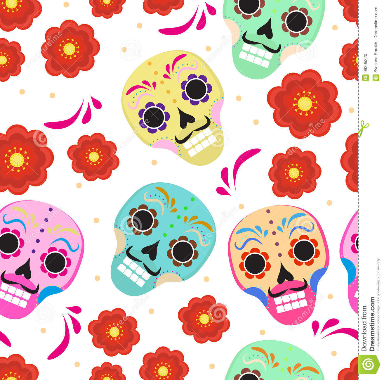 Download Day Of The Dead Holiday In Mexico Seamless Pattern With Sugar Skulls. Skeleton Endless Background. Dia De Muertos Stock Vector - Illustration of dead, mexico: 99205220