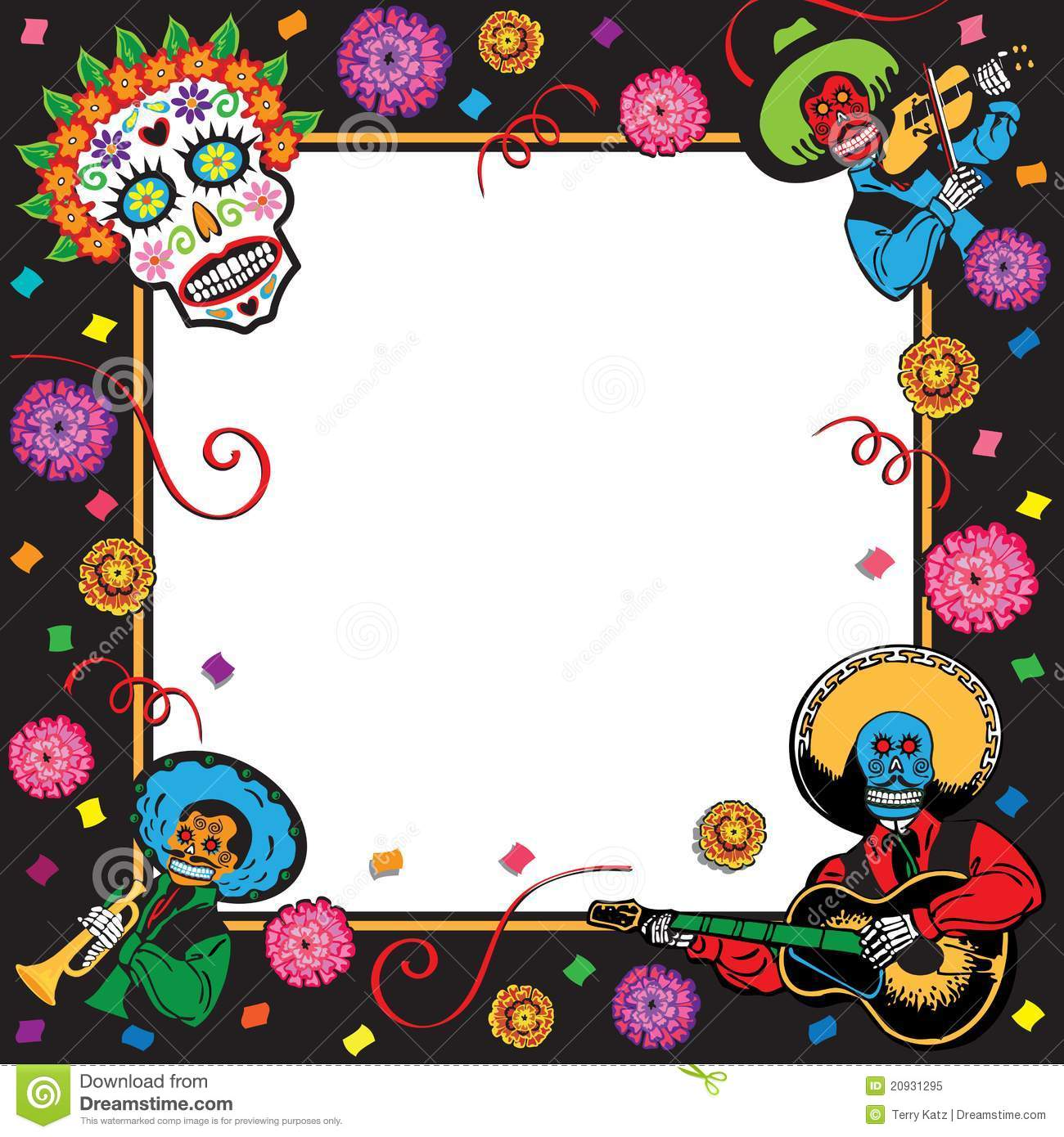 Day Of The Dead Party Invitation Stock Vector - Illustration of copy ...