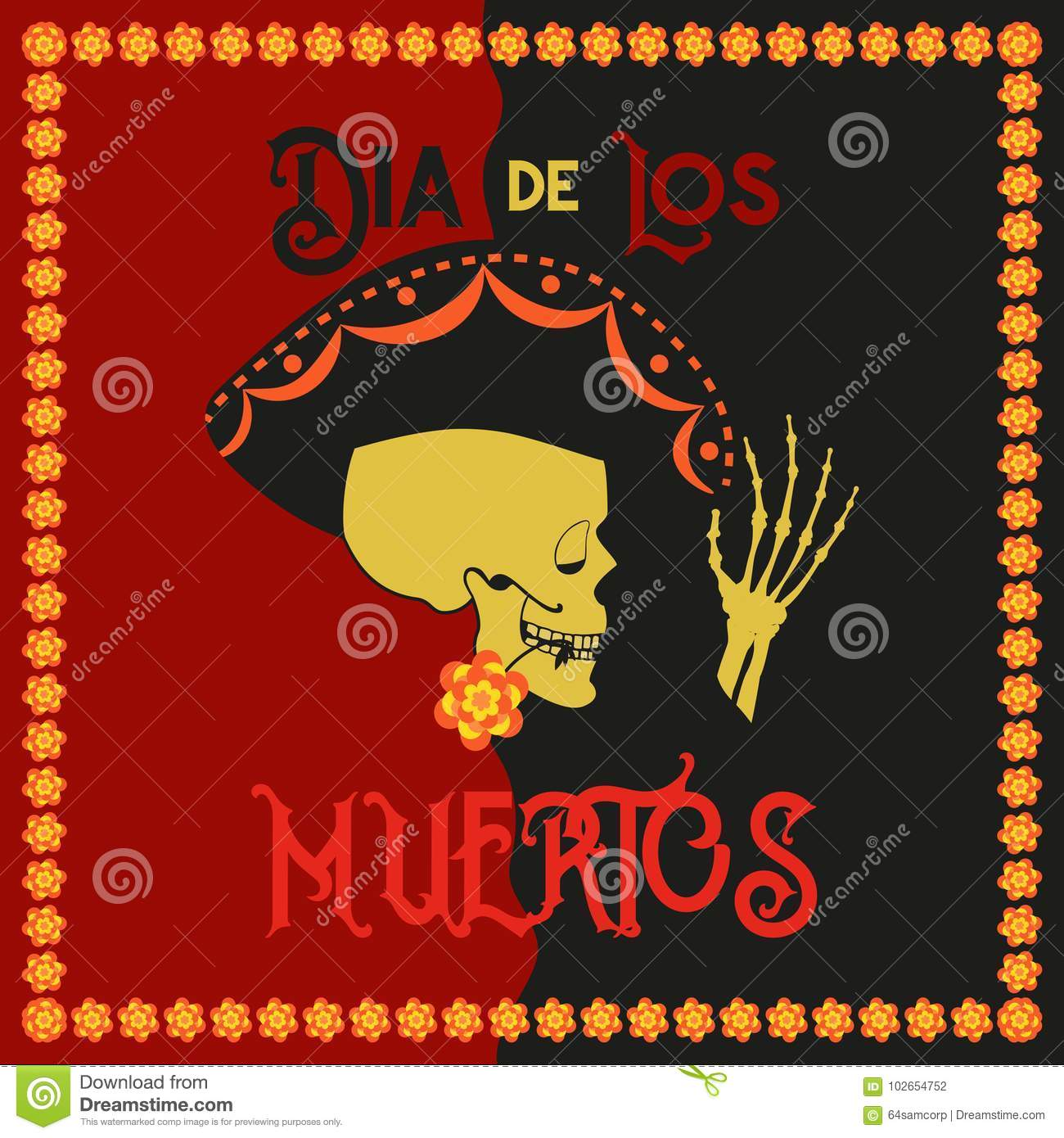 Day Of The Dead Poster Stock Illustration Illustration Of