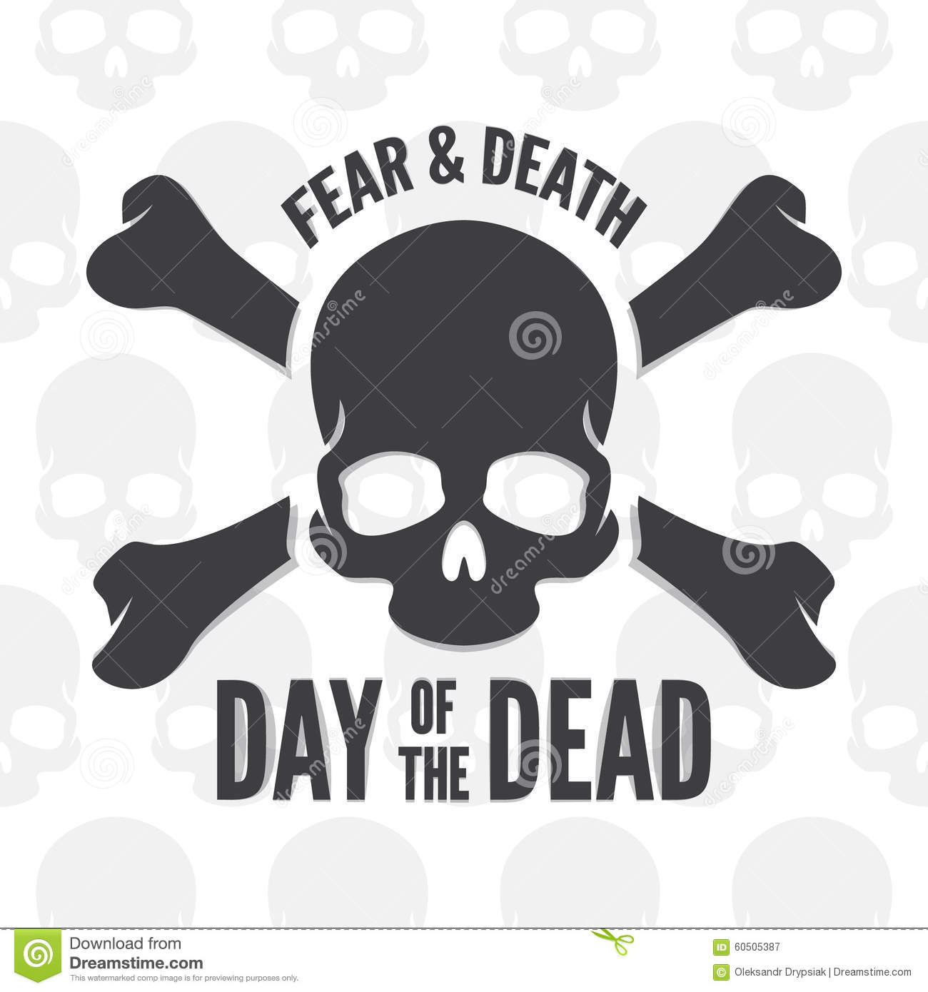 Day Of The Dead Print Skull And Bones Logo Or Stock Vector