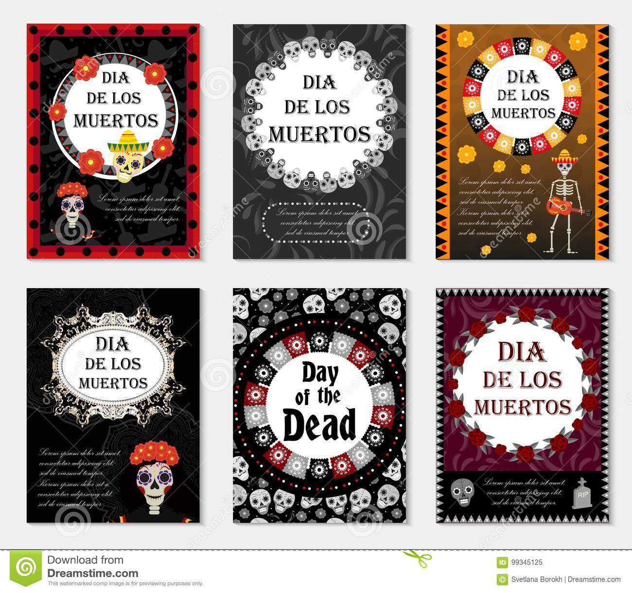 Day Of The Dead Set Flyer Poster Invitation With Roses Skeleton