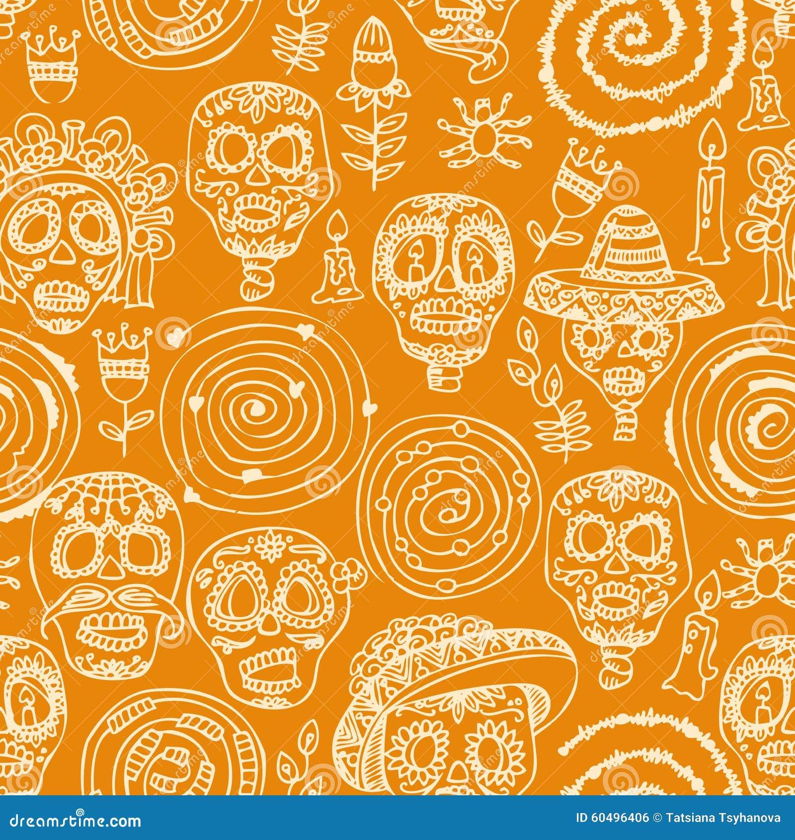 In Style Home Decor Girl Skull Seamless Pattern Cartoon Vector Cartoondealer