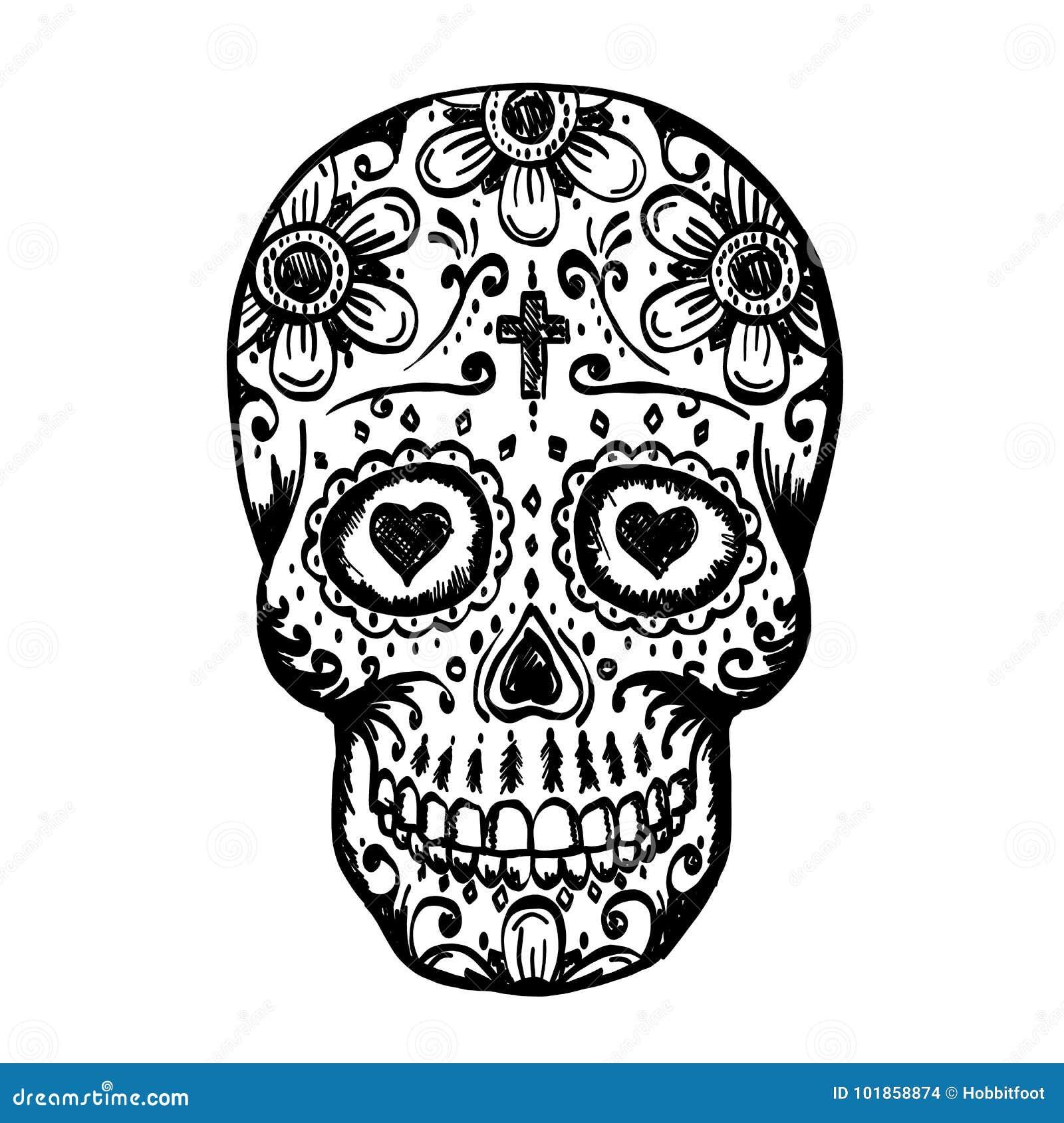 Day Of The Dead Skull Sketch Stock Vector Illustration Of Bone