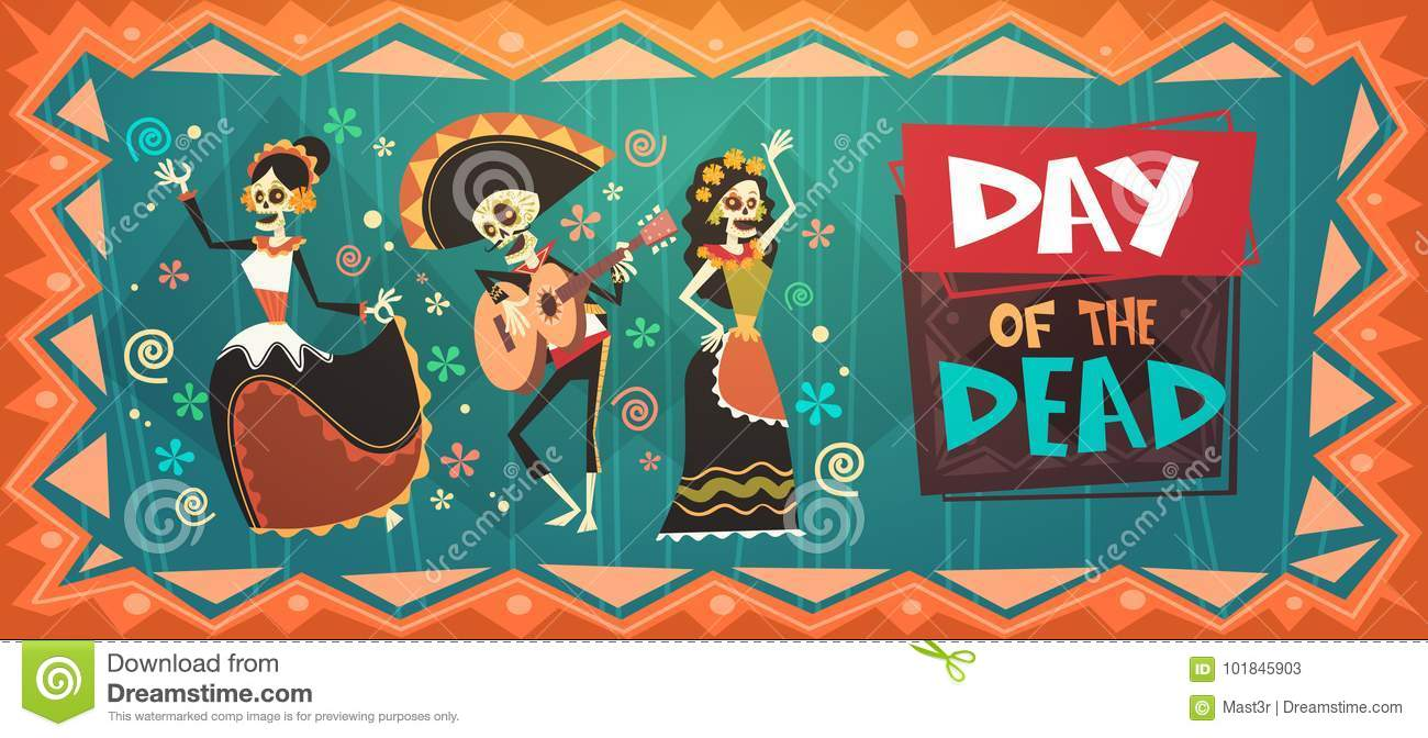 Download Day Of Dead Traditional Mexican Halloween Dia De Los Muertos Holiday Party Stock Vector - Illustration of play, latino: 101845903