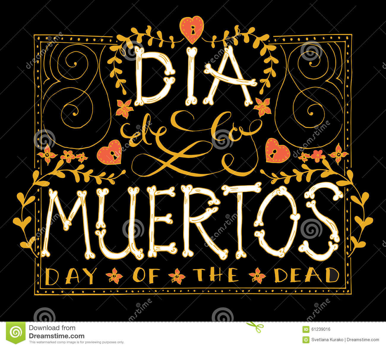Day Of The Dead Vector Illustration Set Stock Vector