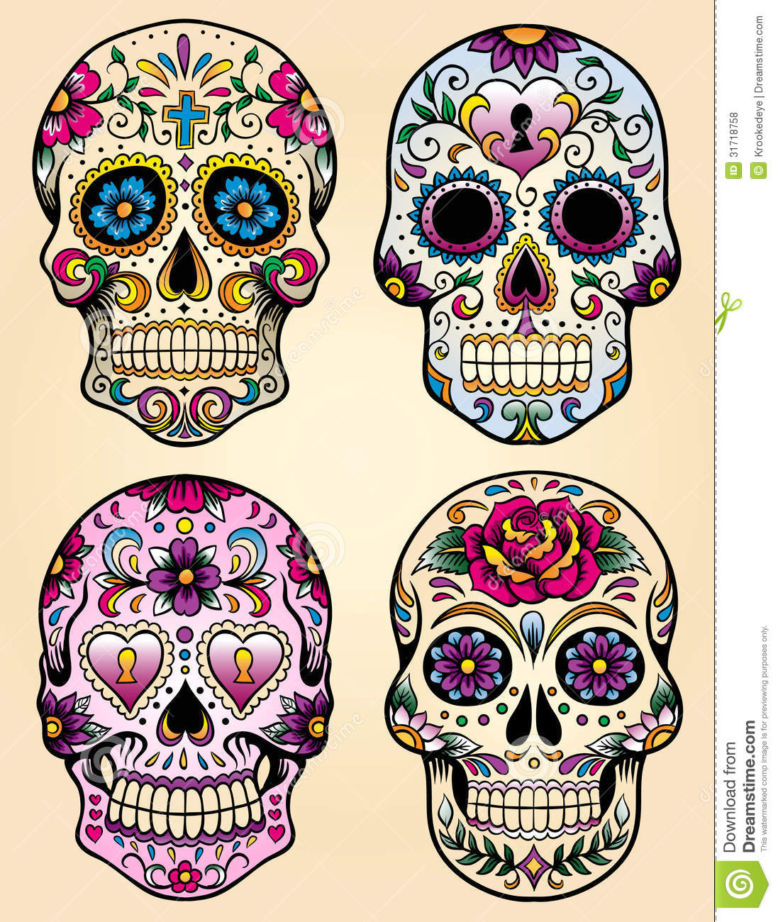 Day Of The Dead Vector Illustration Set Royalty Free Stock Photos