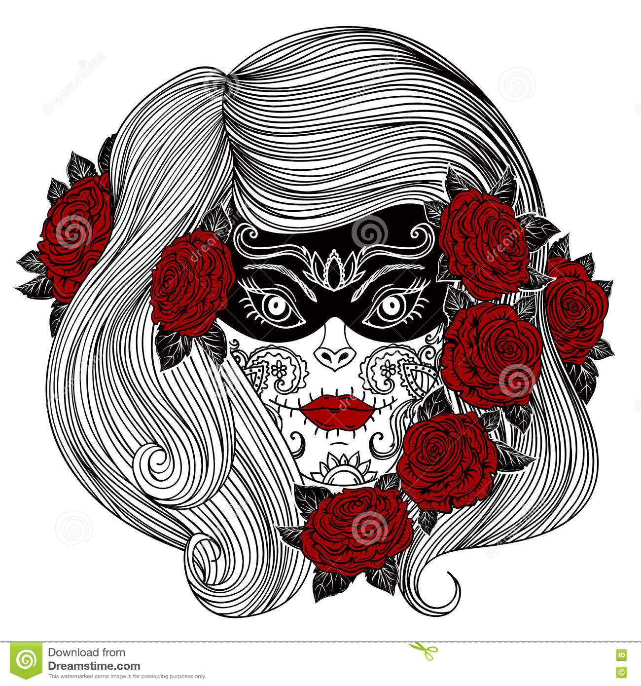 7a0af46bd Day Of The Dead. Woman With Sugar Skull And Roses Flowers. Stock ...