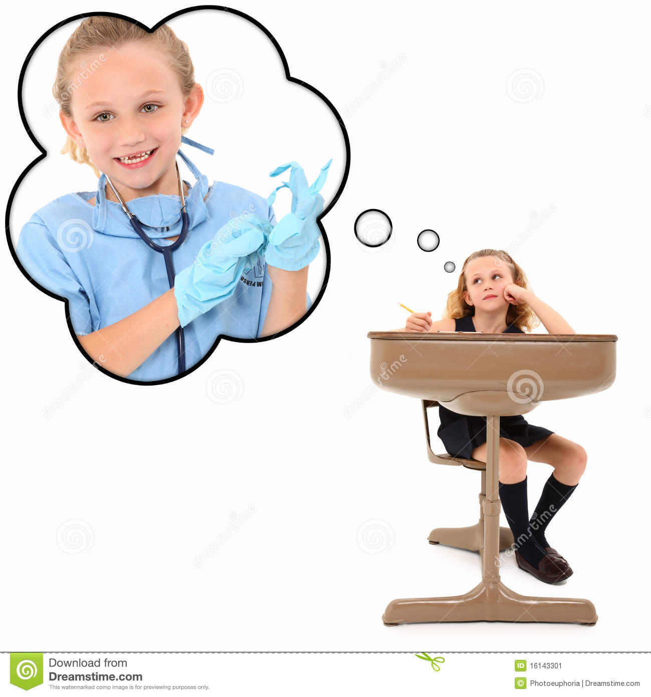 Adorable 7 year old american girl in school desk dreaming about ...