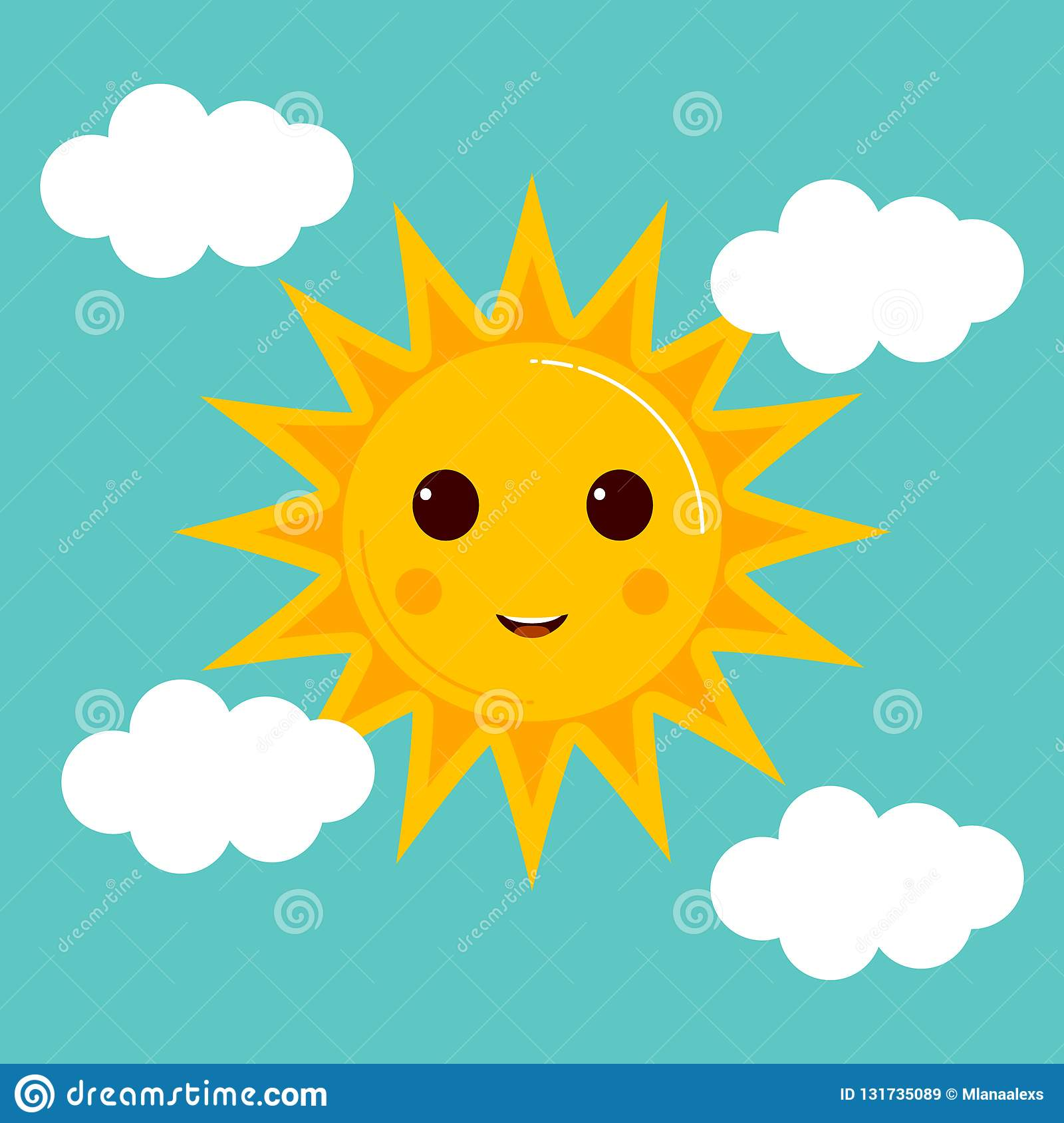 Day Illustrations With Funny Smiling Cartoon Characters Of Sun Stock Vector Illustration Of Cartoon Background 131735089