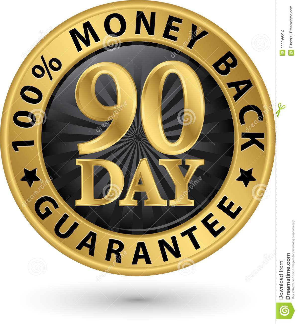90 day 100  money back guarantee golden sign, vector illustrati