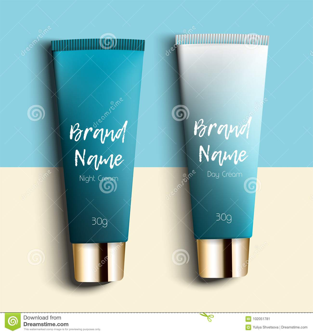 Day And Night Cream. Realistic Packaging For Cosmetics With Three ...