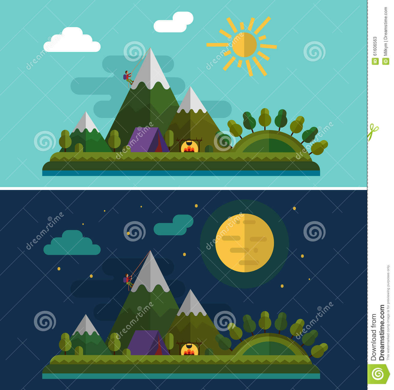 Landscape Design In A Day: Day And Night Landscapes. Stock Vector. Illustration Of