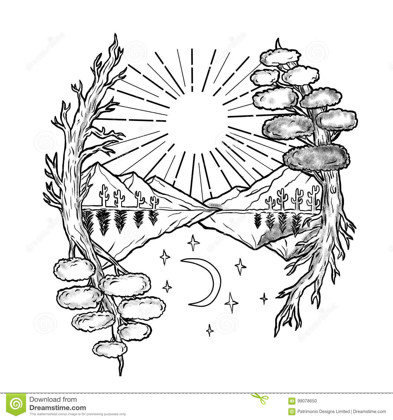 Day And Night Trees Mountains Tattoo Stock Illustration