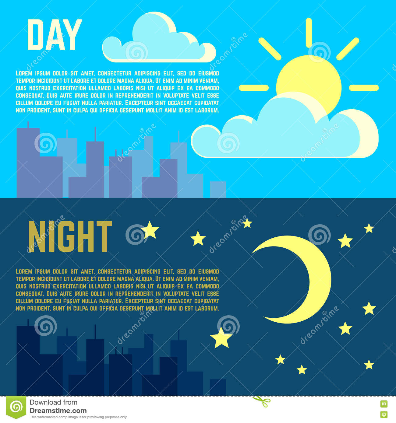 Day and night vector banners flat sun moon symbols stock vector day and night vector banners flat sun moon symbols biocorpaavc Images