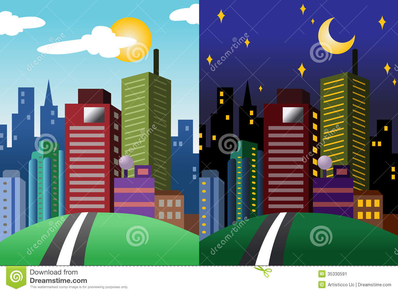 day and night view of a modern city stock vector image