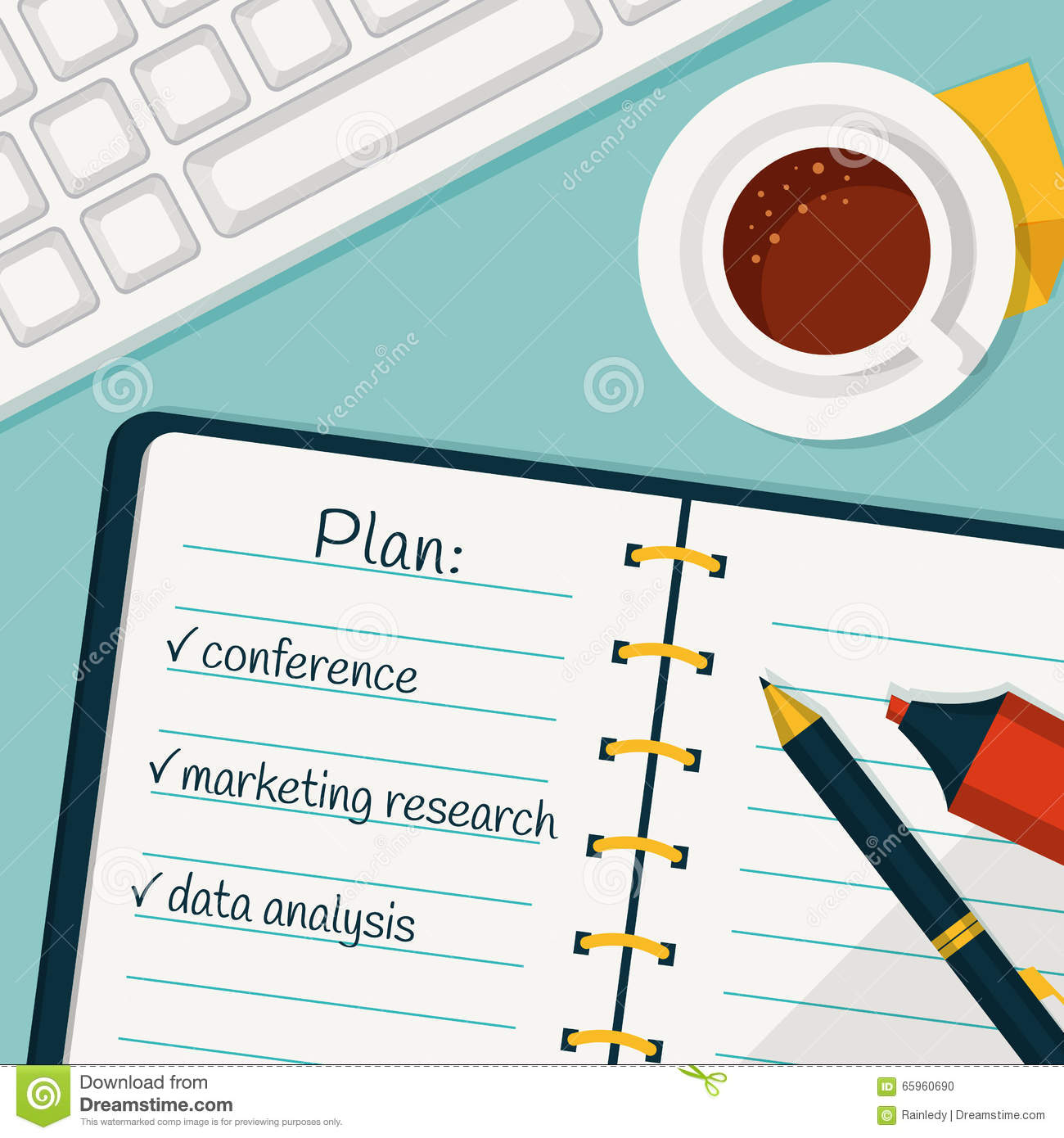 Day planning vector concept background stock vector for Plan of a flat