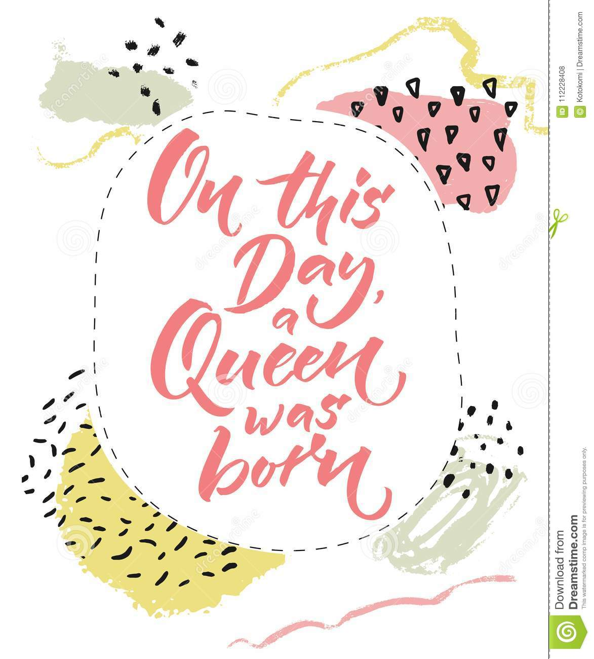 On This Day A Queen Was Born Happy Birthday Card For Girls Brush