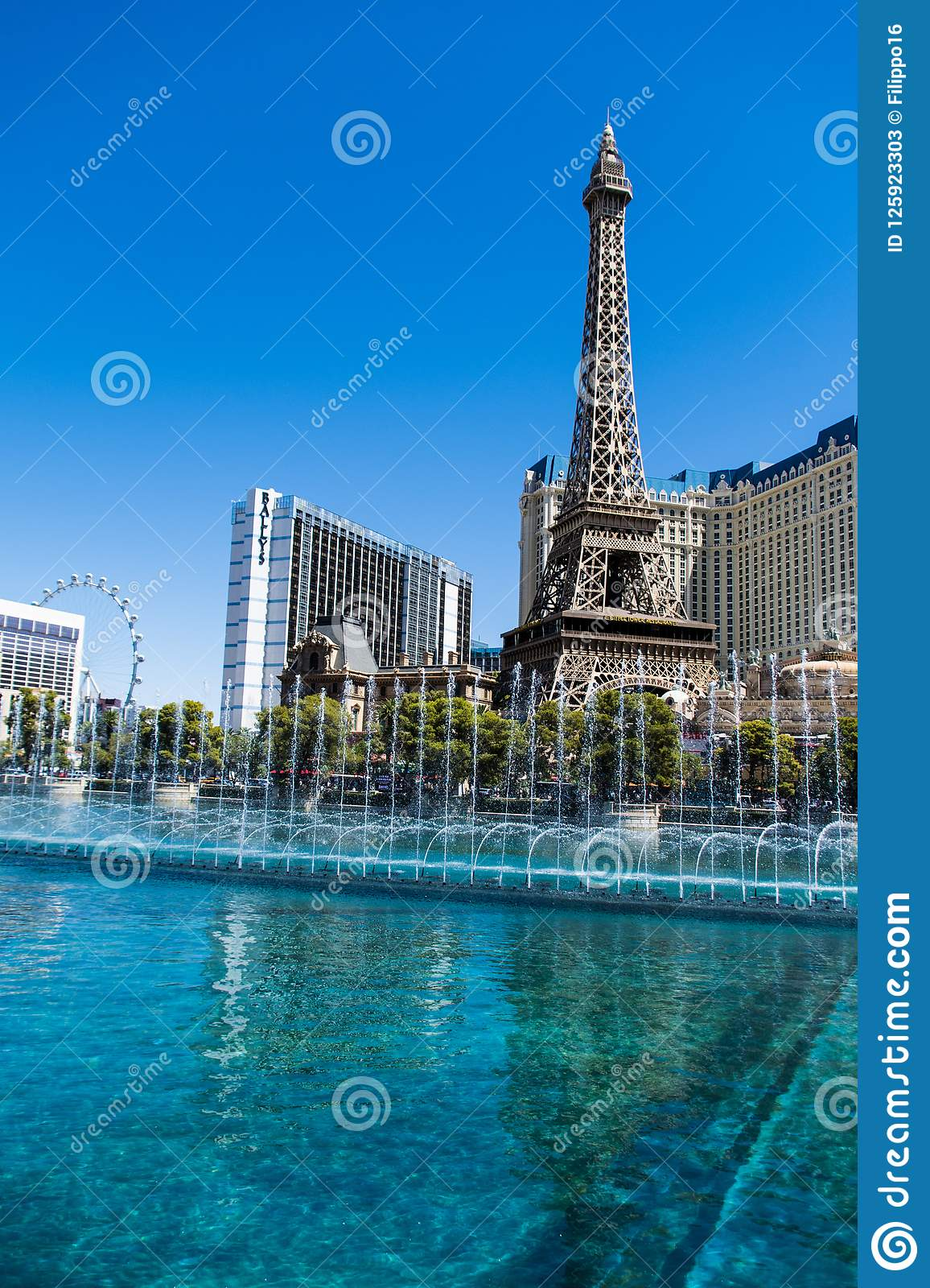 Las Vegas, NV, USA 09032018: stunning view of Paris hotel in day light during bellagio fountain show