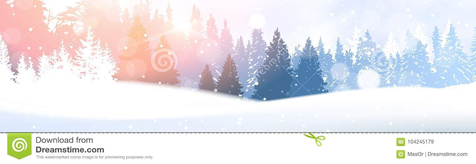 Day In Winter Forest Glowing Snow Under Sunshine Woodland Landscape White Snowy Pine Tree Woods Background