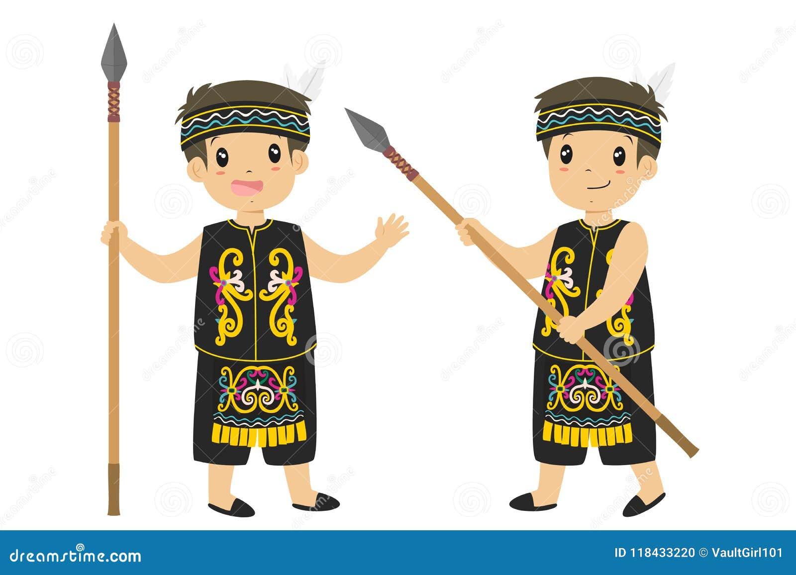 Dayak Stock Illustrations 49