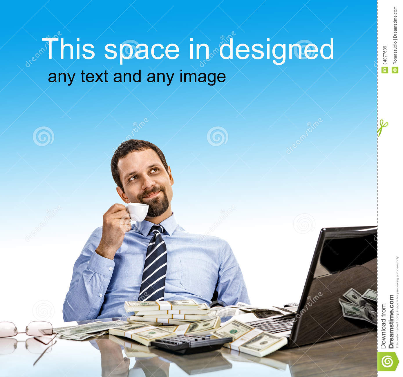 Daydreaming Businessman With A Cup Of Coffee Stock Image