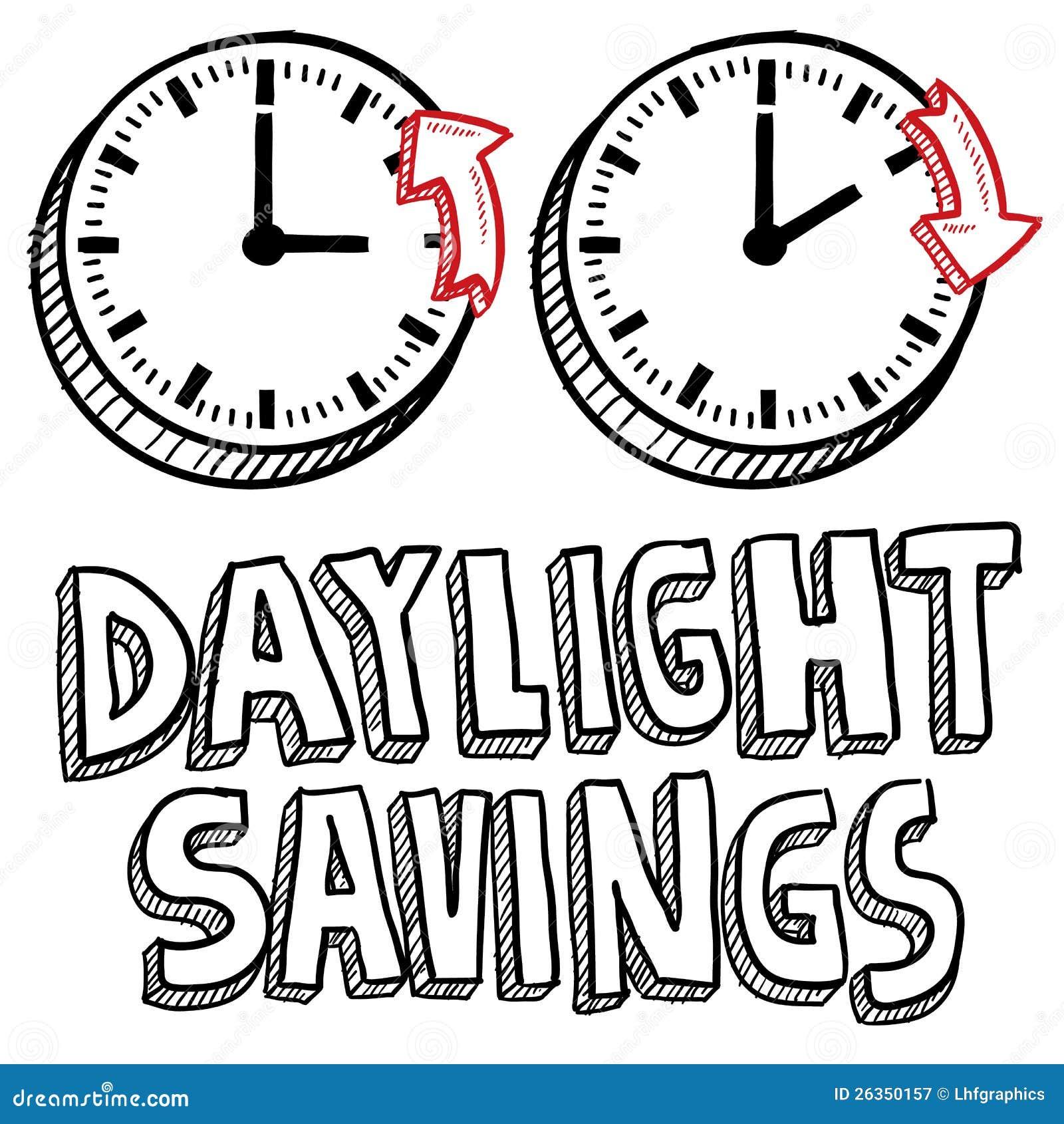 daylight savings time sketch stock vector