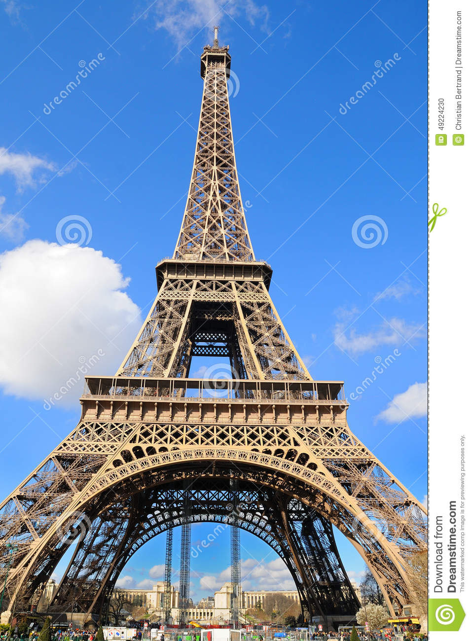 daylight view of the eiffel tower la tour eiffel is an iron lattice tower located editorial. Black Bedroom Furniture Sets. Home Design Ideas