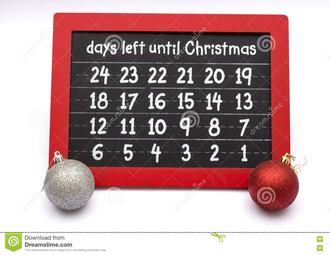 How Many Days Left Until Christmas.Days Left Until Christmas On Chalkboard With Balls Stock