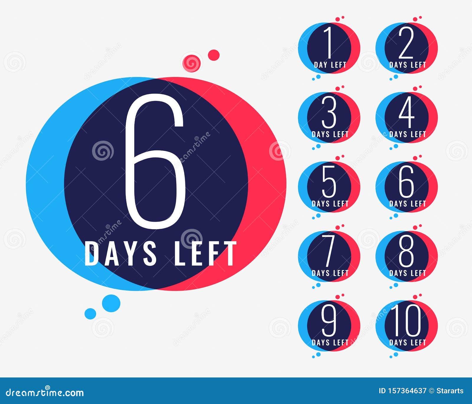 Days Left Countdown Number Banner Design Stock Vector ...