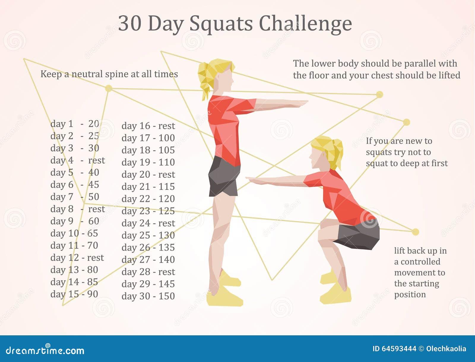30 Days Squats Challenge Illustration Stock Vector Illustration Of