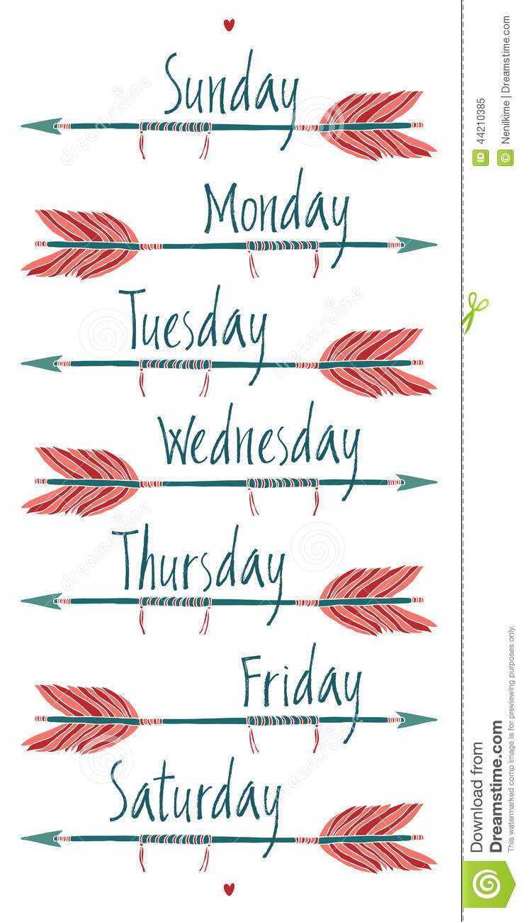 Days Of The Week And Arrows Stock Vector - Illustration of ...