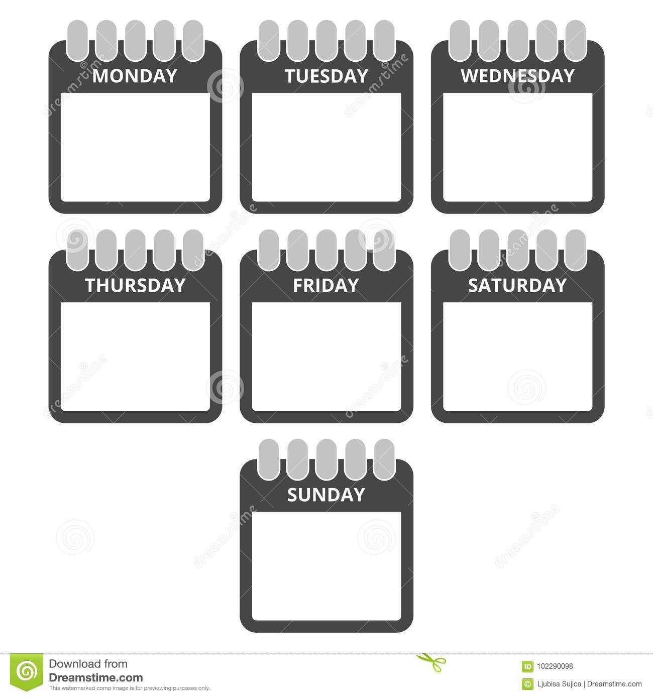 Calendar Days Icon.Days Of The Week Calendar Sheets With The Days Of The Week Stock