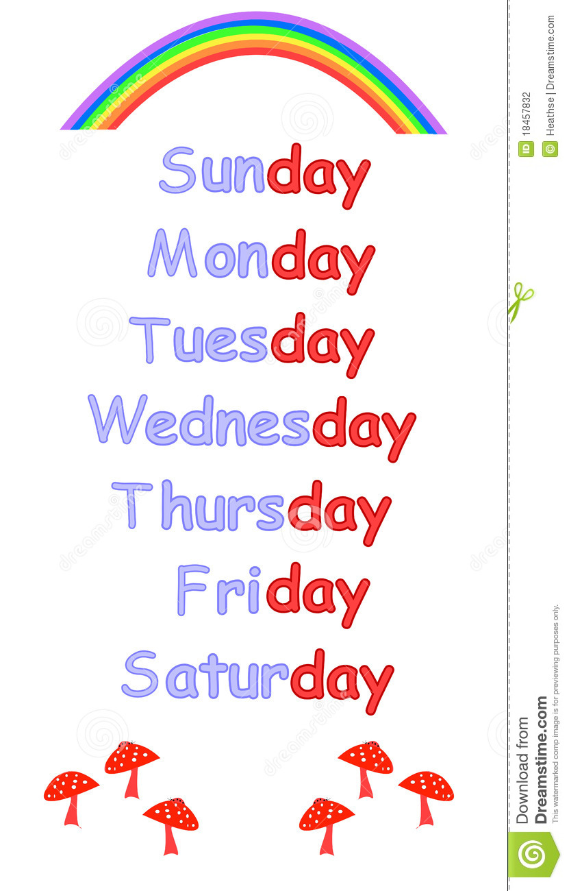 Days Of The Week For Childrens Education Stock Photography - Image ...