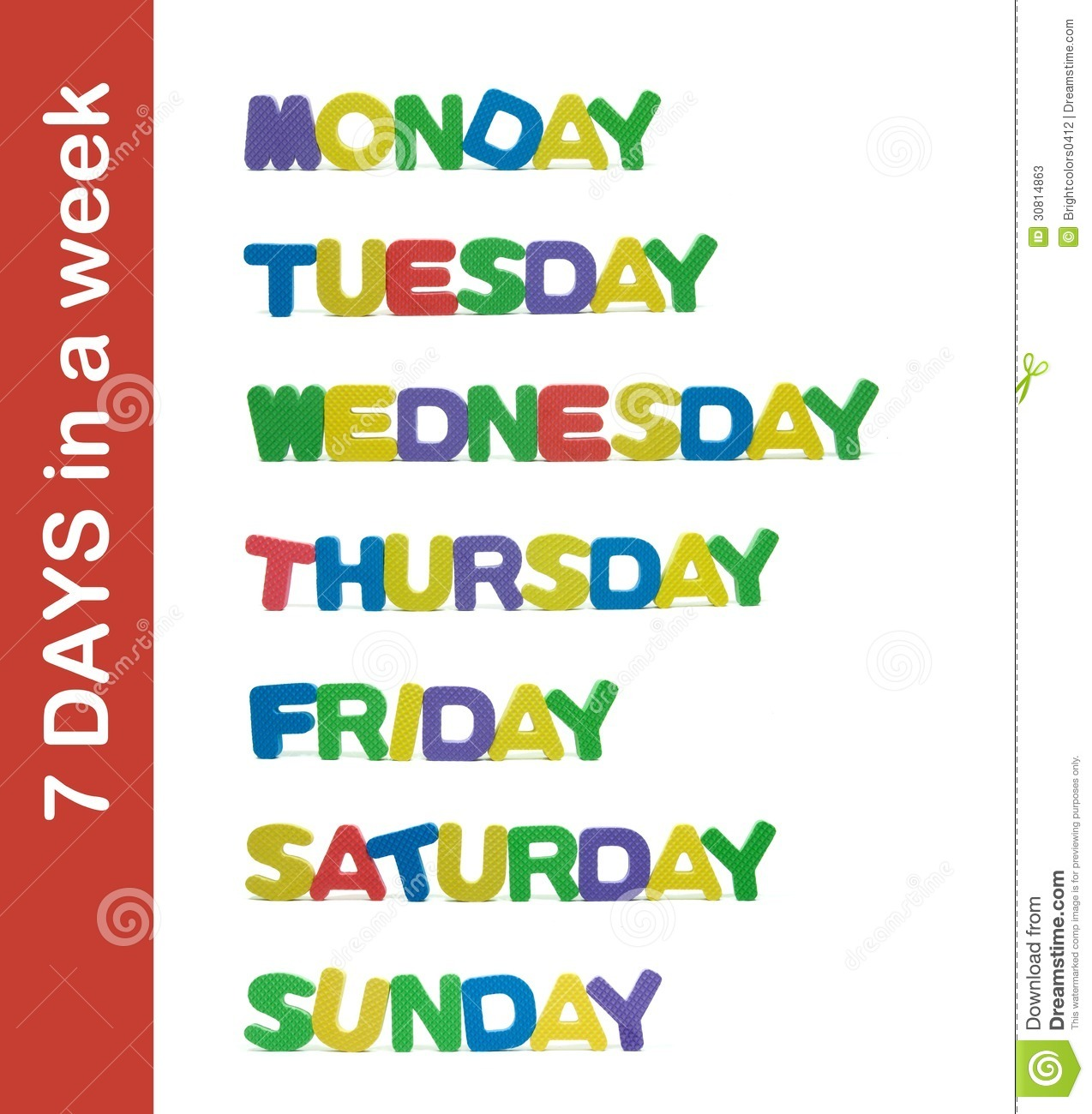 7 Days In A Week Letter Stock Photos - Image: 30814863