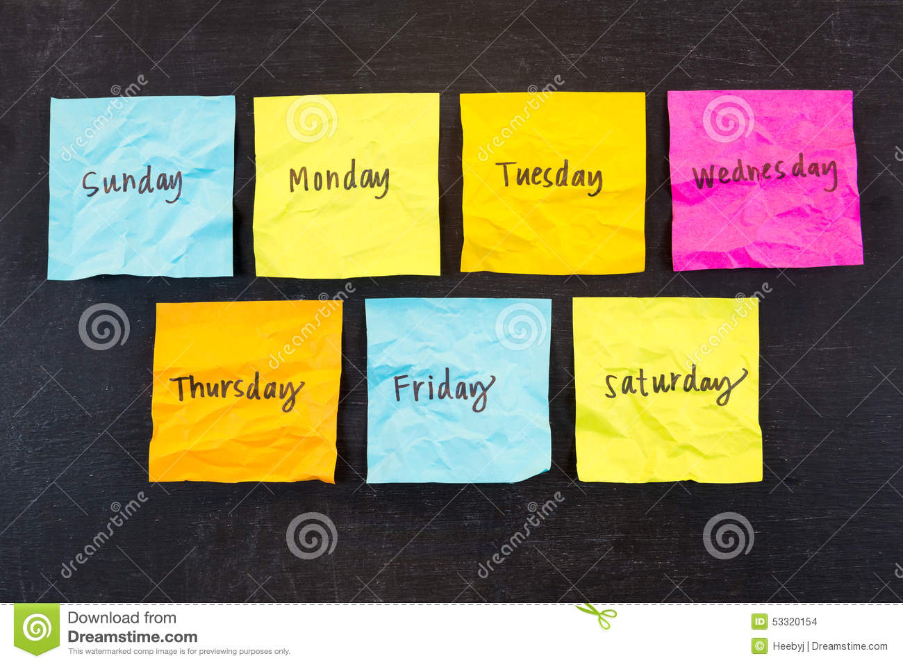 Days of Week Sticky Notes