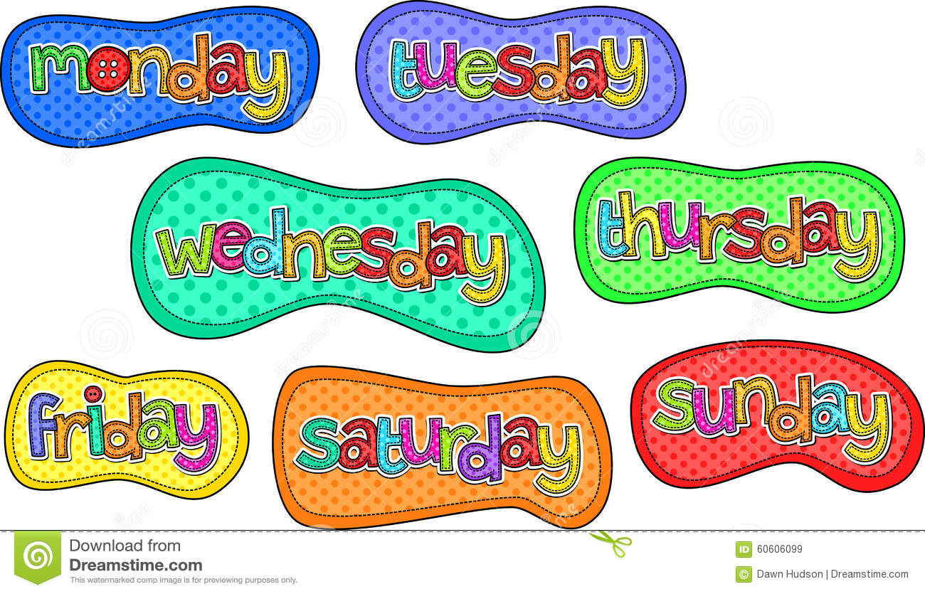 Days Of The Week Stitch Text Labels Stock Illustration - Image ...