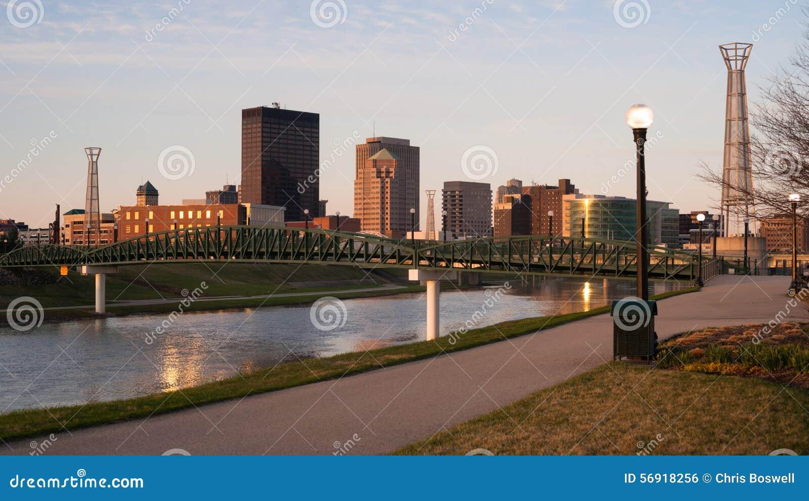 Dayton Ohio Downtown City Skyline Great Miami River
