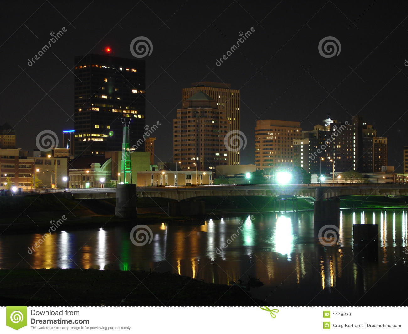dayton  ohio skyline at night with river stock photo