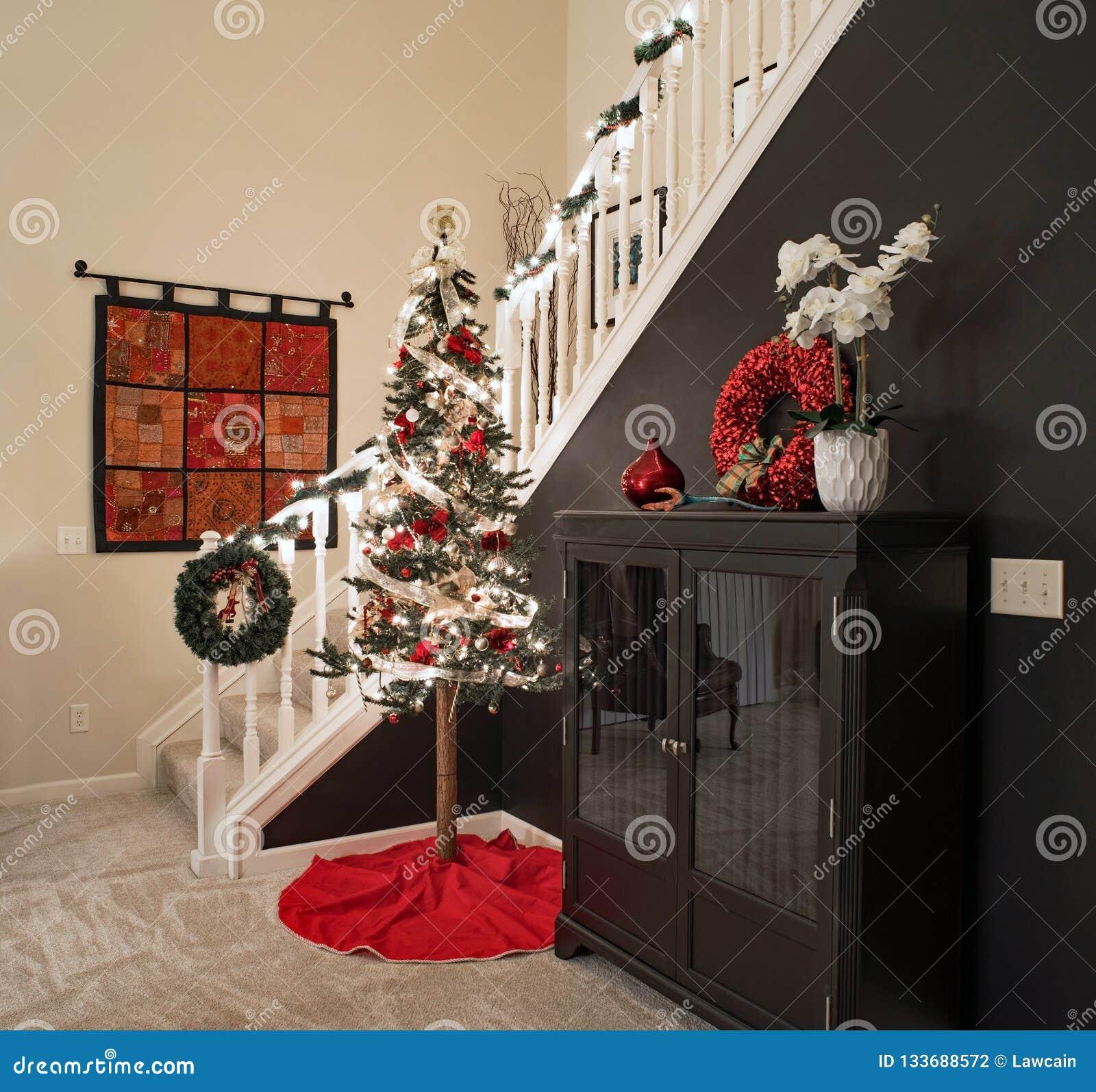 Alpine Christmas Tree By Stairway Stock Photo Image Of Lifestyle Gray 133688572