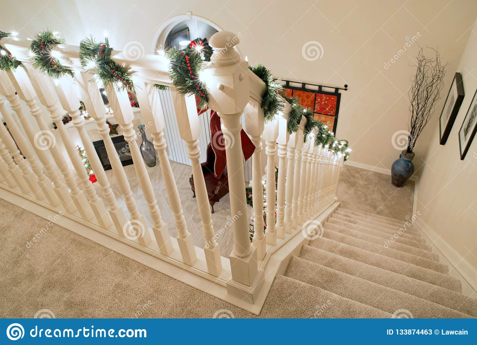 Picture of: Christmas Corner Banister Stairs Editorial Stock Photo Image Of House Home 133874463