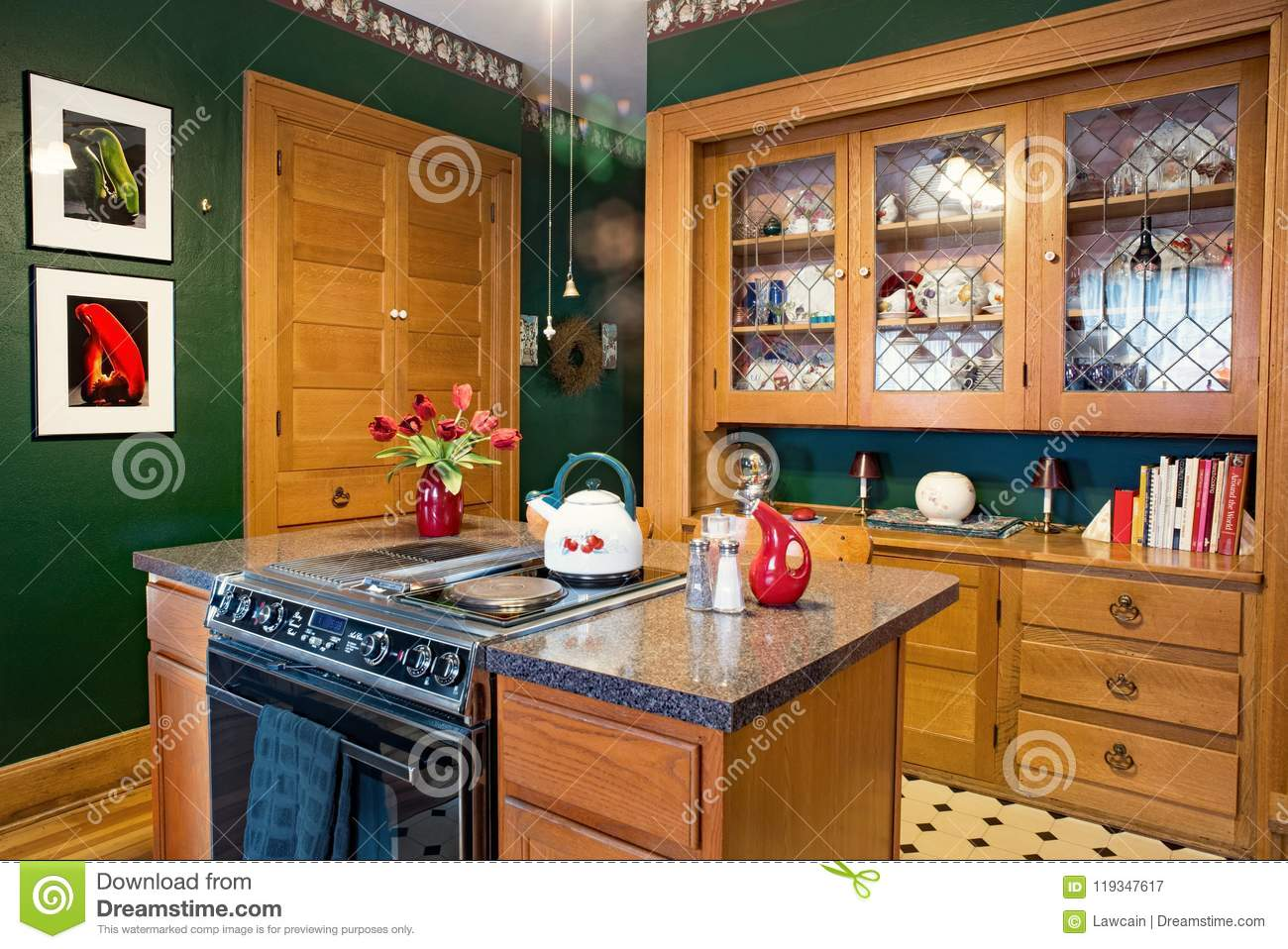 Kitchen With China Cabinet & Spice Cupboard Editorial ...