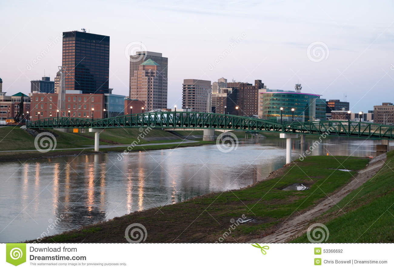 dayton ohio waterfront downtown city skyline miami river stock photo