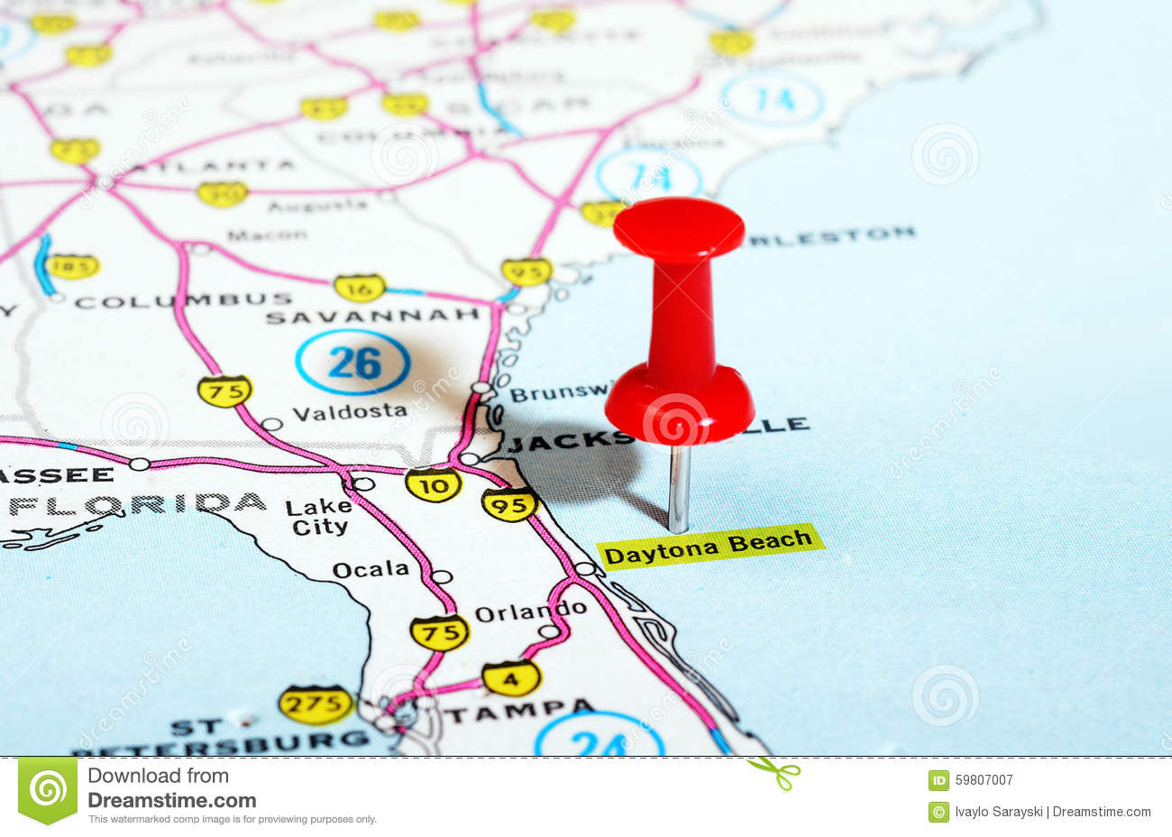 Daytona Beach Florida USA Map Stock Photo Image - Florida map beach