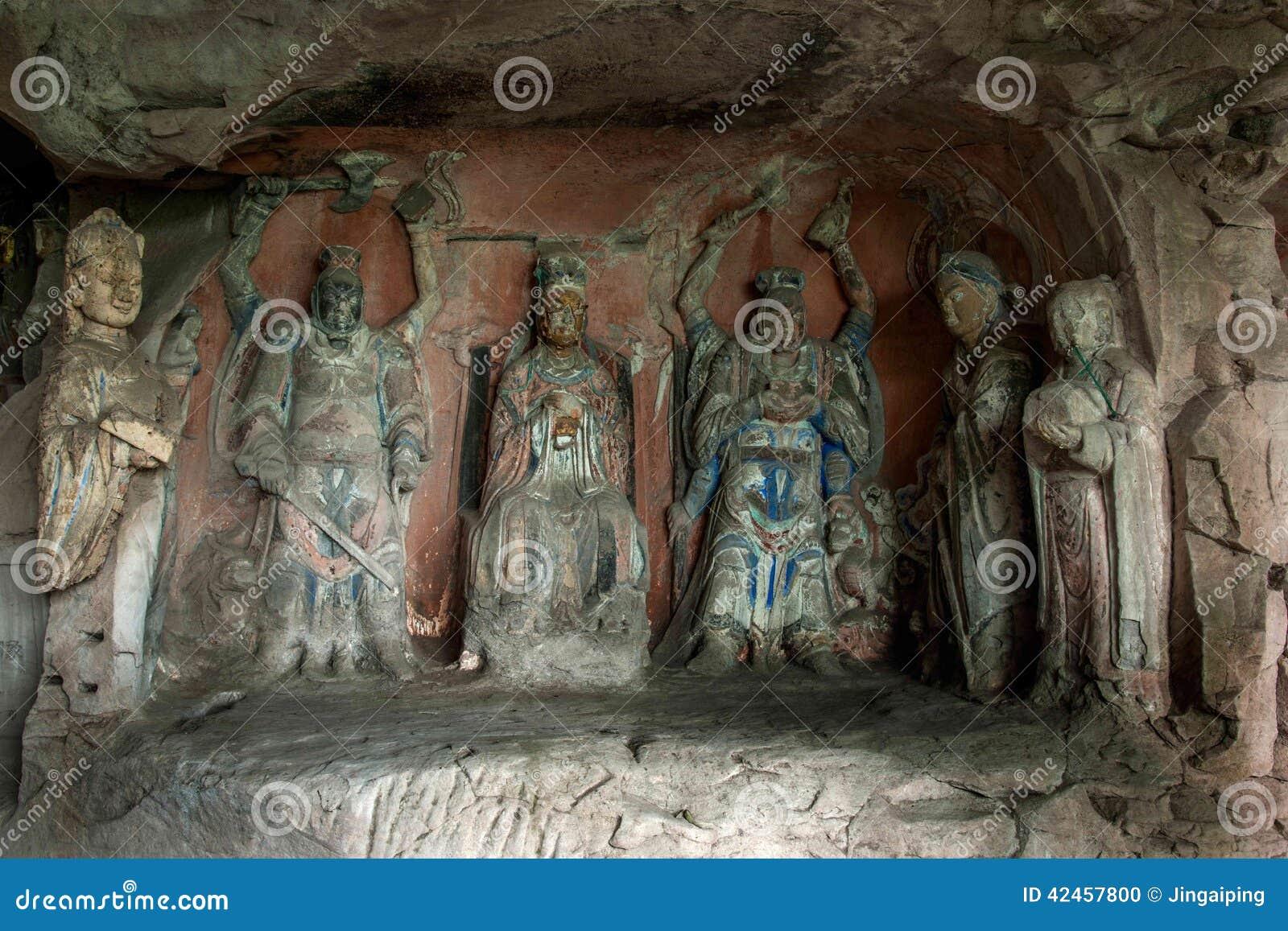 Dazu-Felsritzungen in Chongqing Shu diagenetic Cliff Ziwei Great Shrine