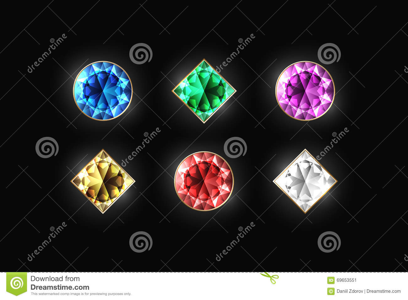 and on violet different red diamond shape stock diamonds blue gold green color a vector dazzling illustration black white background