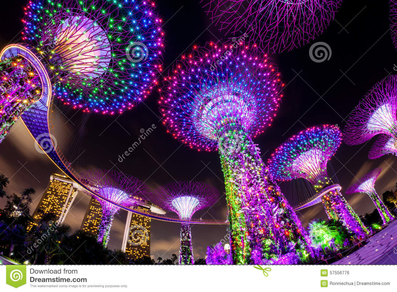 Dazzling Light Show At The Supertree Grove And Marina Bay In Sin Editorial Ph