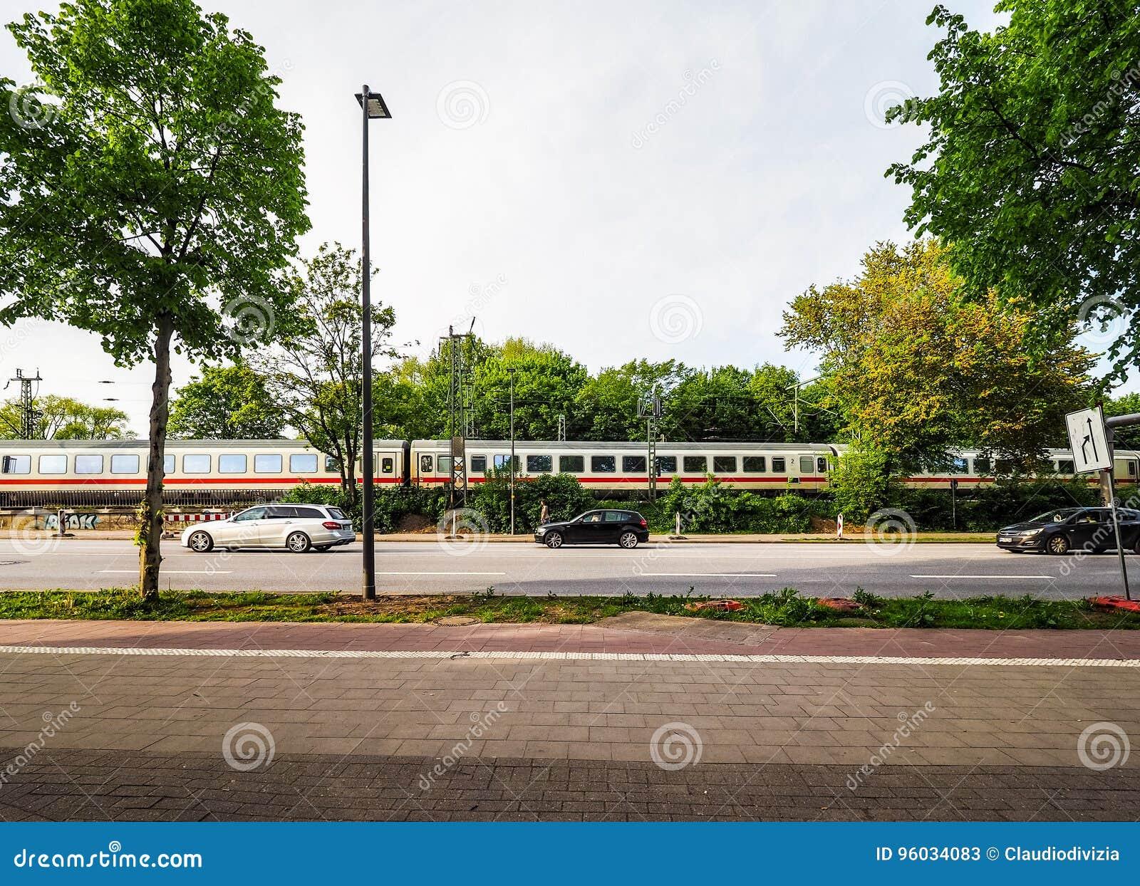 DB pociąg w Hamburskim hdr